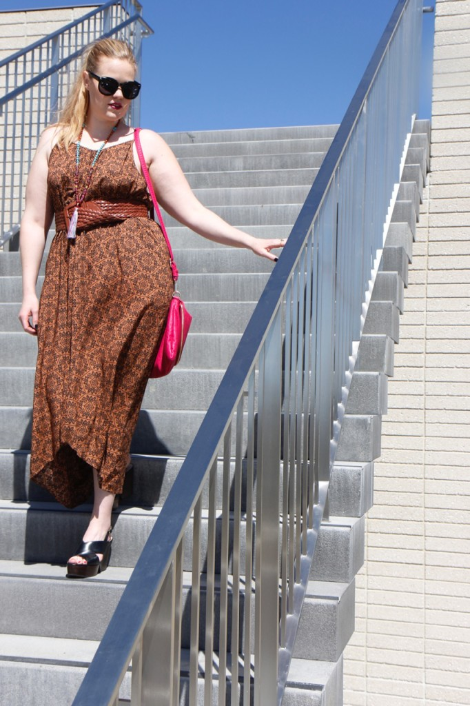Belted Maxi Dress and Wedges