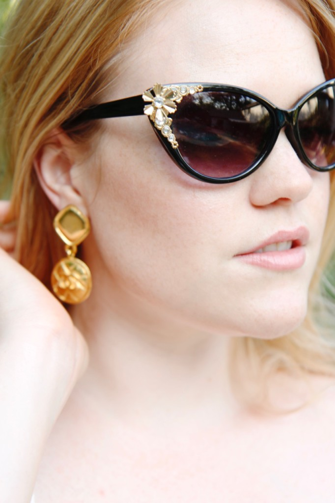 Poolside Glam - Vintage Sunglasses and Chanel Earrings