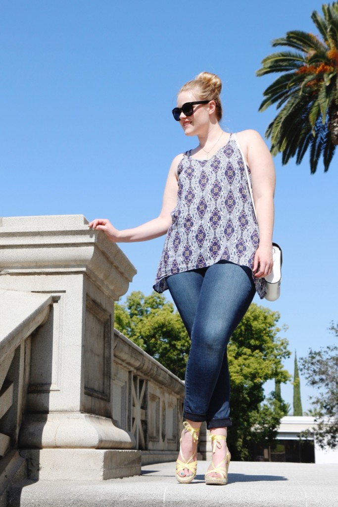 July Stitch Fix - Printed Tank, Jeans, Wedges for Summer