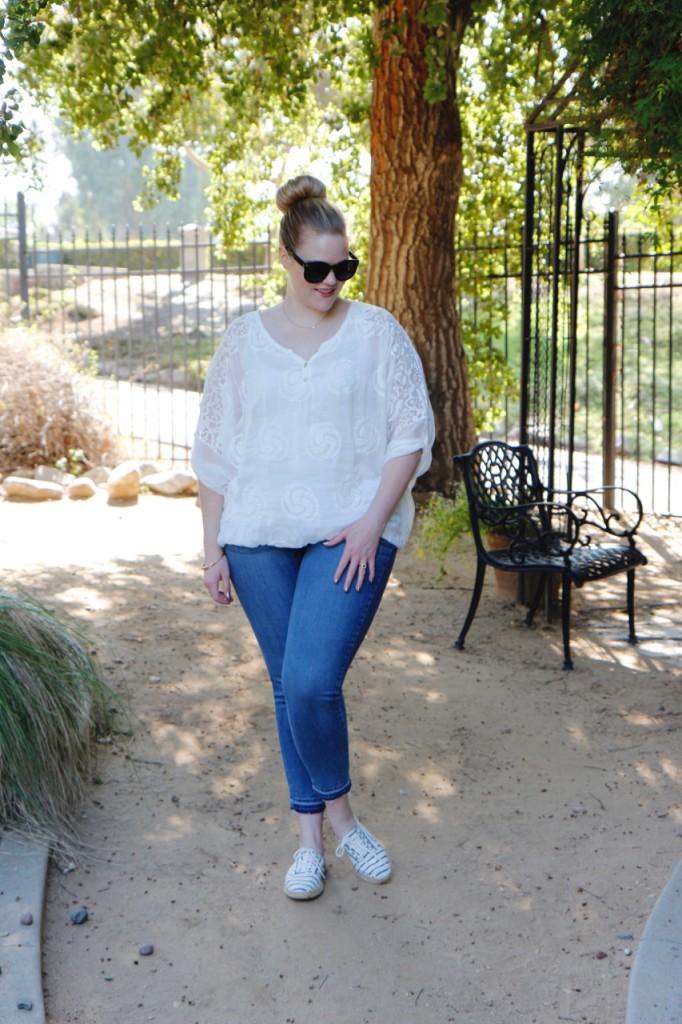 July Stitch Fix - White Blouse and Raw Hem Jeans