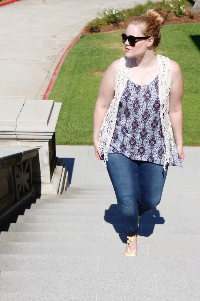 July Stitch Fix - Crochet Vest with Tank and Jeans