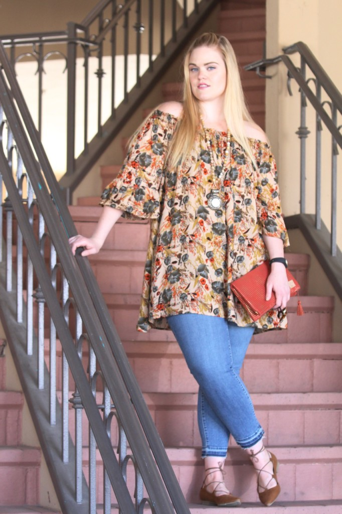 Off-Shoulder for Fall with BohoCheri - Floral Tunic and Cropped Jeans