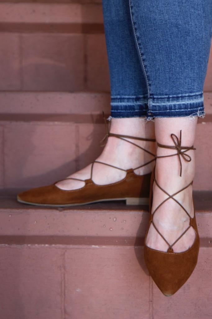 Off-Shoulder for Fall with BohoCheri - Lace Up Flats and Frayed Cropped Jeans