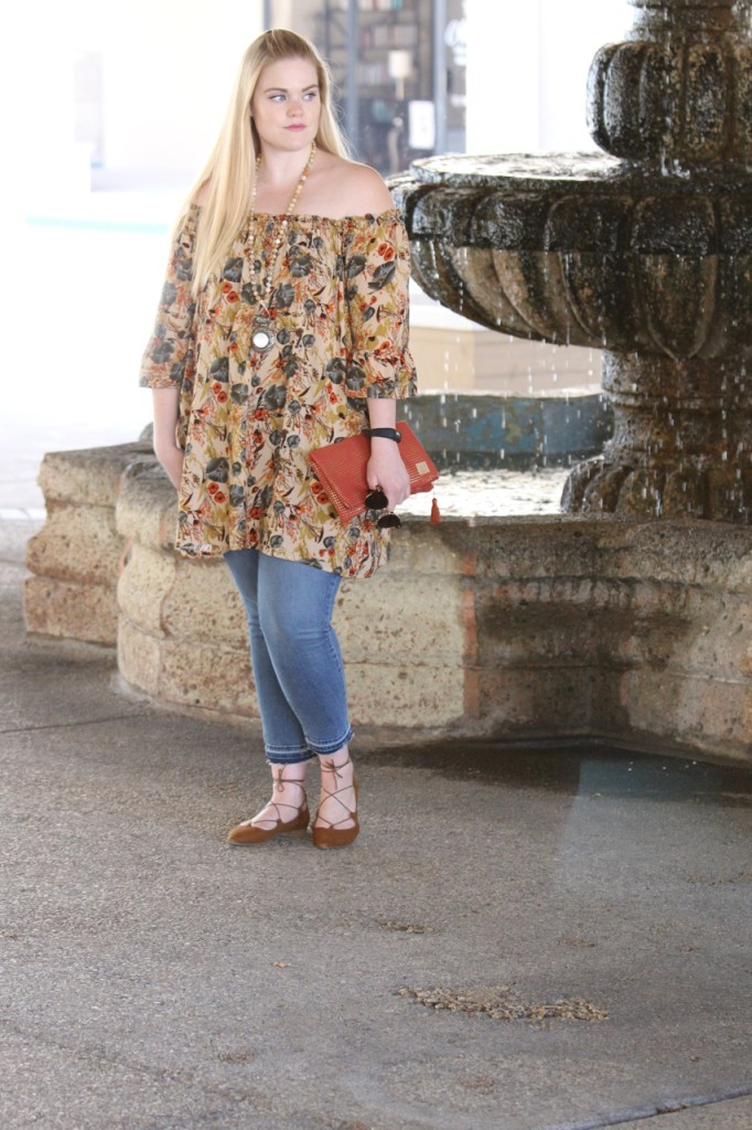 Off-Shoulder for Fall with BohoCheri - Clutch Bag and Lace Up Flats
