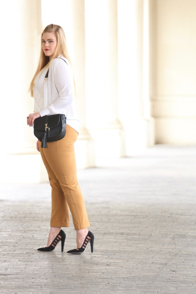 How to Wear White After Labor Day - White Blouse and Heels