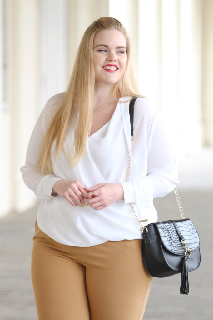How to Wear White After Labor Day - White Blouse and Leather Bag