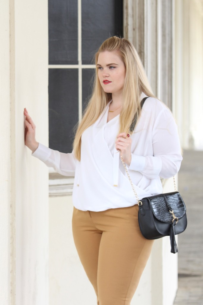How to Wear White After Labor Day - White Blouse & Black Crossbody Bag