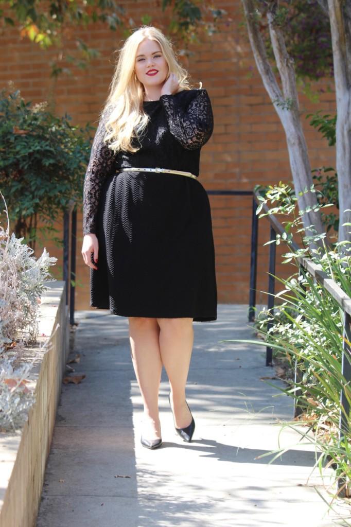 London Times Little Black Lace Dress Outfit