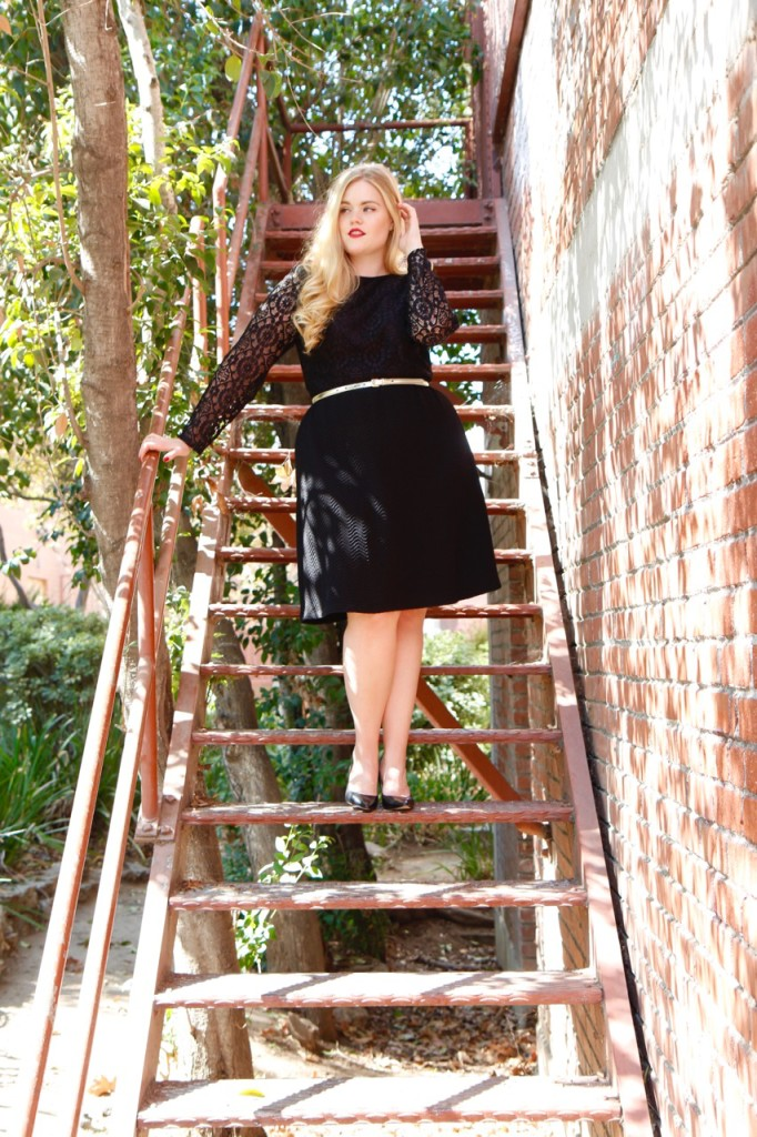 London Times Black Lace Dress with Heels