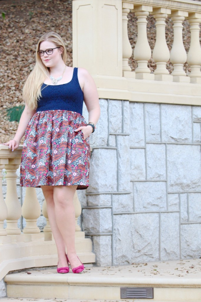 Monday at the Mansion - Anthropologie floral print dress and heels