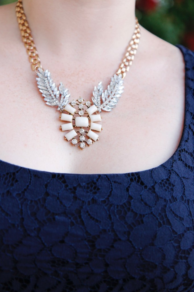 Monday at the Mansion - J. Crew statement necklace and Anthropologie lace dress