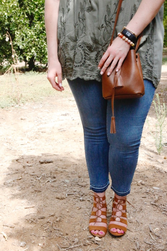 August Stitch Fix - Cropped Denim, Leather Bucket Bag & Lace Up Wedges for Fall