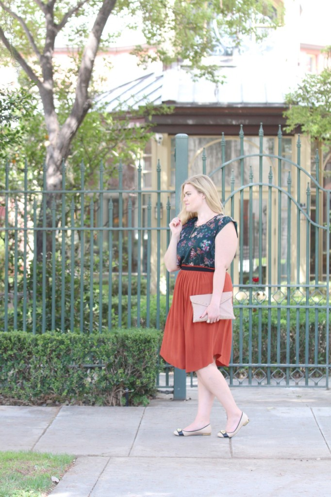 Fall Florals & Rust Skirt - Curvy Girl Style