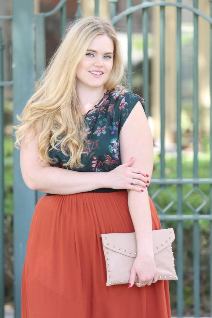 Fall Florals & Rust Skirt - Detailed Blouse and H&M Skirt