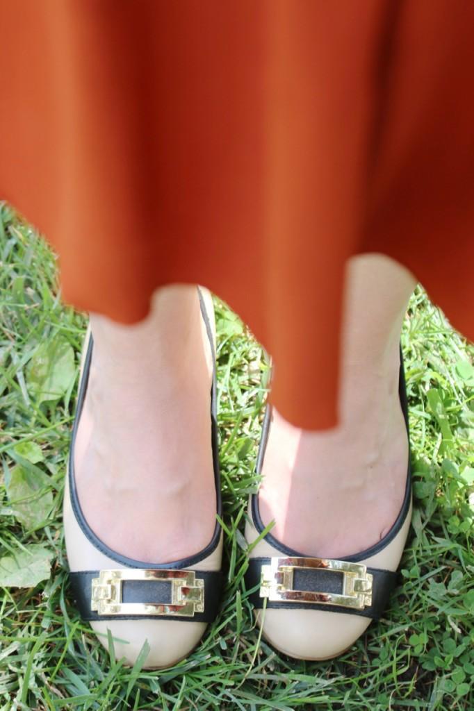 Fall Florals & Rust Skirt - Louise et Cie Flats