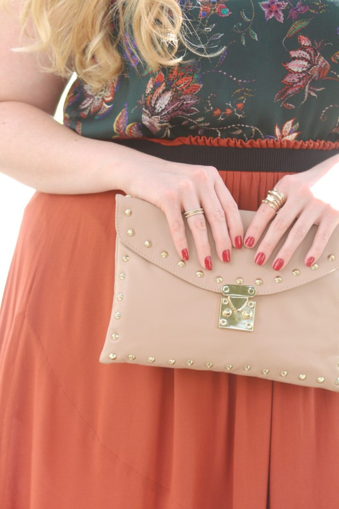 Fall Florals & Rust Skirt - Studded Clutch and Cocktail Ring