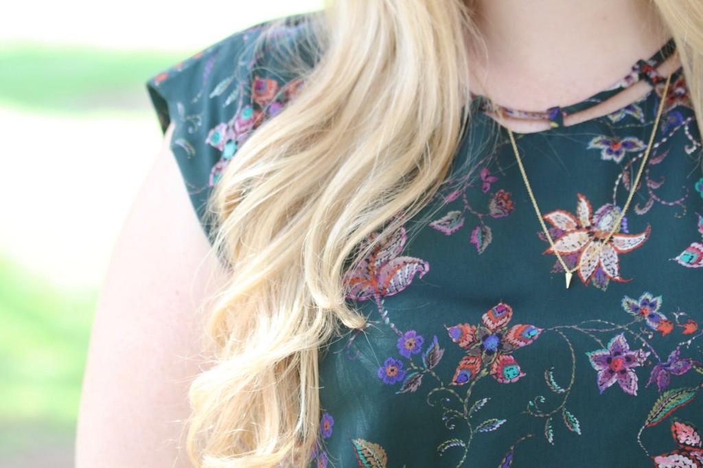Fall Florals & Rust Skirt - BaubleBar Necklace