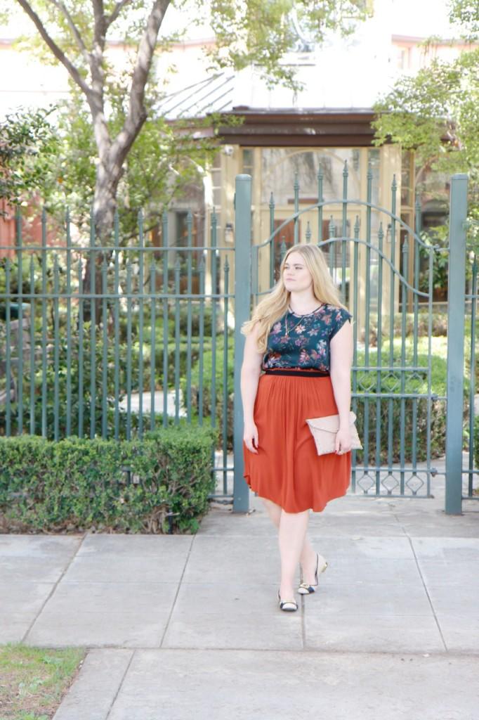 Fall Florals & Rust Skirt - StitchFix Outfit