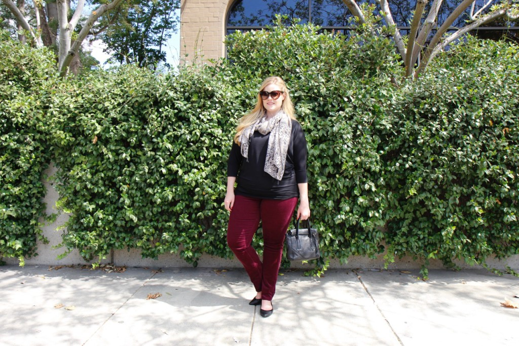 October Stitch Fix - Burgundy Cords and Scarf