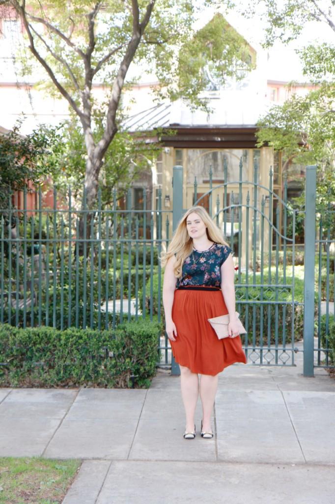 Fall Florals & Rust Skirt - StitchFix Blouse and Midi Skirt