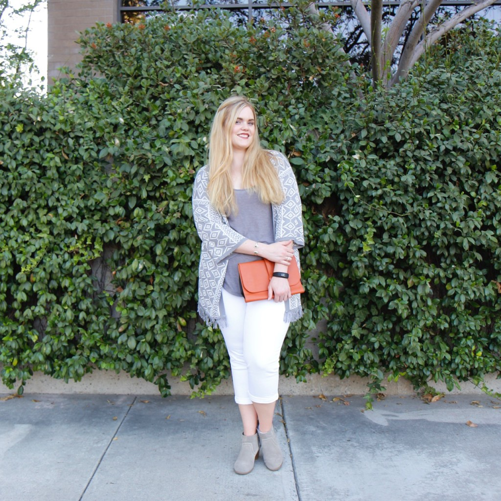 September Stitch Fix - Grey Cardigan, Tank, White Cropped Pants, Ankle Booties