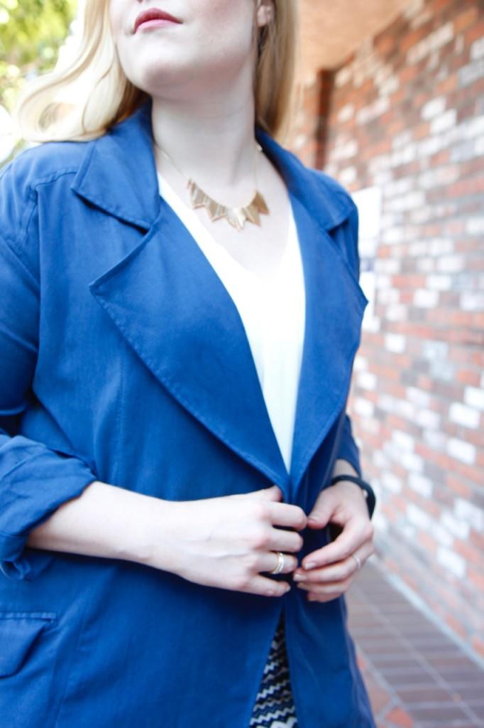 September Stitch Fix - Rocksbox Necklace, Blue Trench Coat
