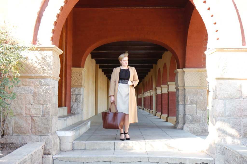 12 Ways to Style an LBD - Wool trench, heels, tote bag