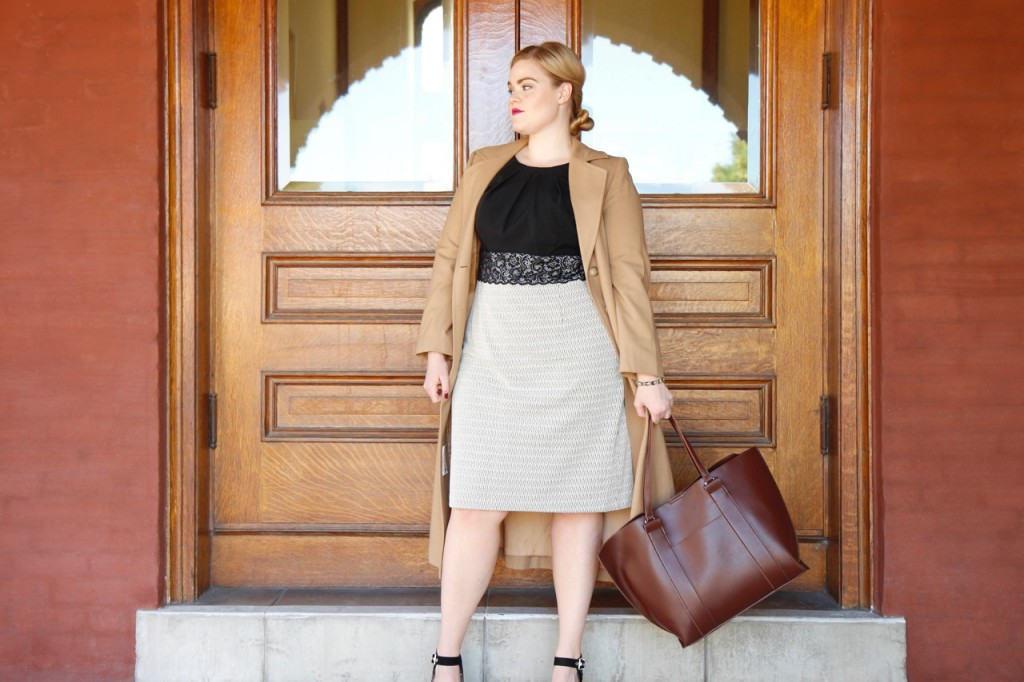 12 Ways to Style an LBD - Leather Tote and Vintage Wool Trench Coat