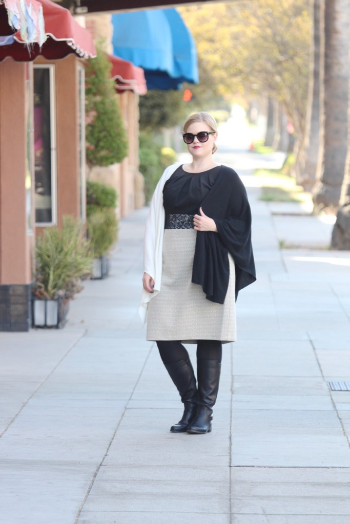12 Ways to Style an LBD - Black & White Cape, Tights and Boots