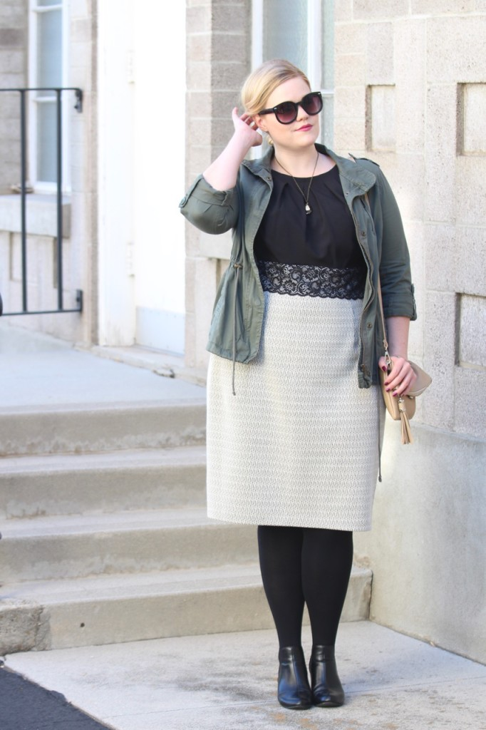12 Ways to Style an LBD - Casual Chic - Military Jacket, ankle booties, tights