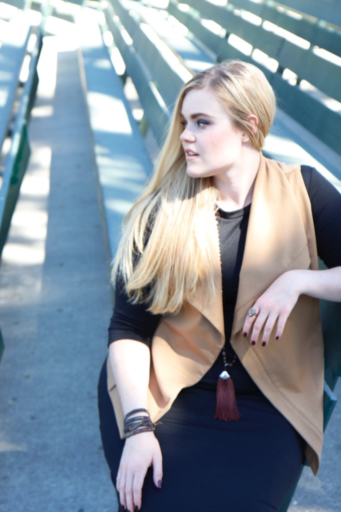 Layering a Midi Dress and a Giveaway! - A Camel Vest on Top of a Black Midi Dress