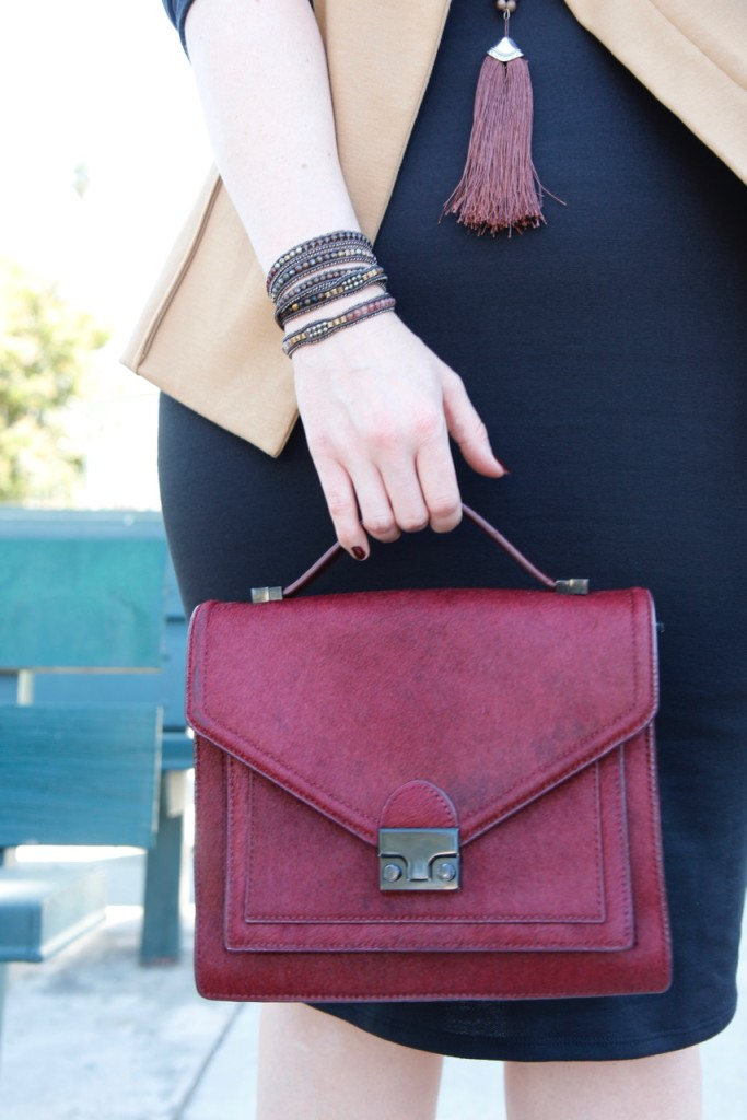 Layering a Midi Dress and a Giveaway! - Beaded Wrap Bracelet and Maroon Bag