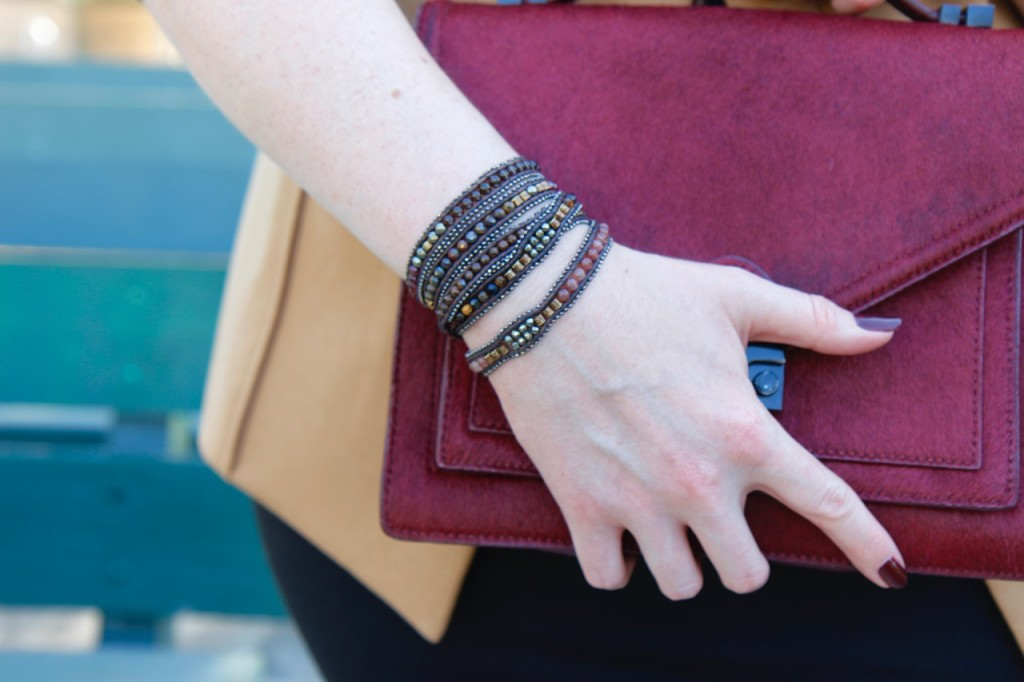 Layering a Midi Dress and a Giveaway! - Fall Toned Stone Wrap Bracelet
