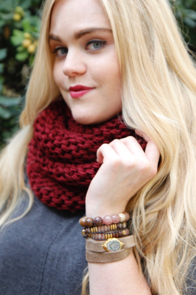 Ronnie M Jewelry Fall Lookbook - Infinity Scarf & Bracelet Stack