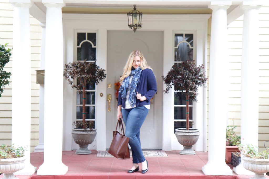 November Stitch Fix Review - Scarf, Tote, Jeans and Blazer