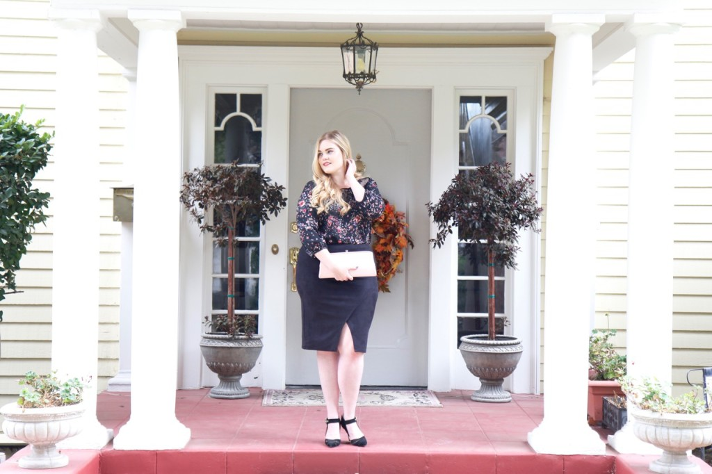 November Stitch Fix Review - Floral Blouse and Pencil Skirt