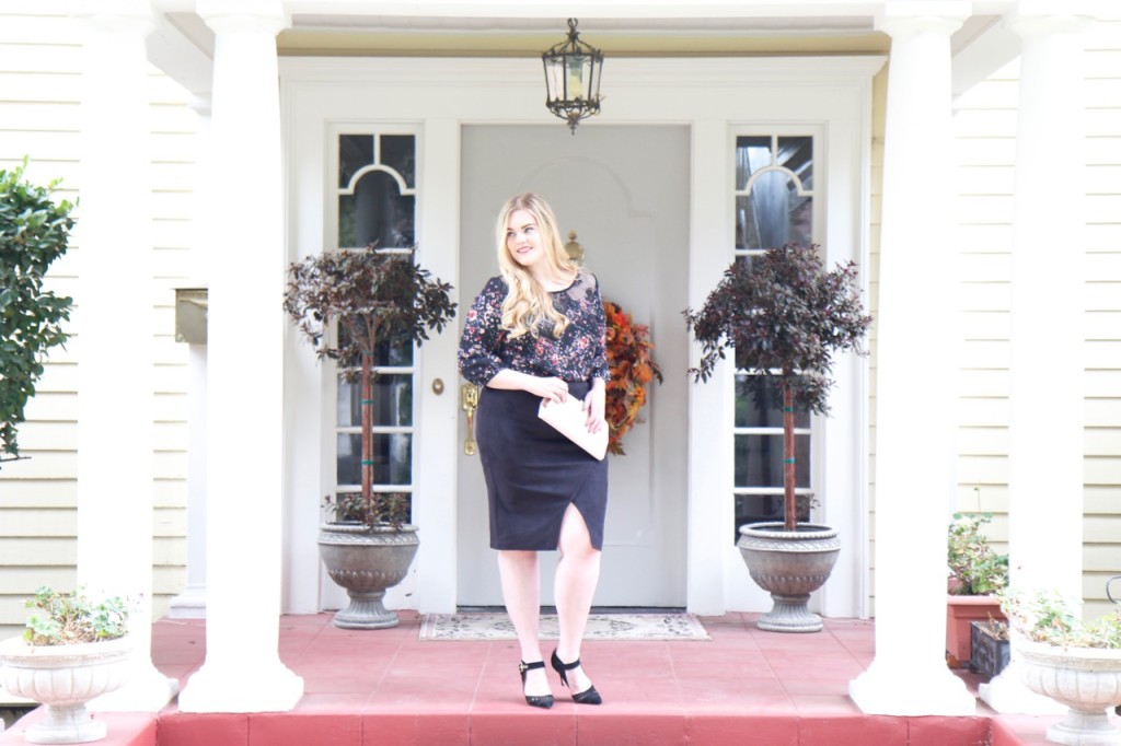 November Stitch Fix Review - Floral Blouse, Vintage Clutch and Heels
