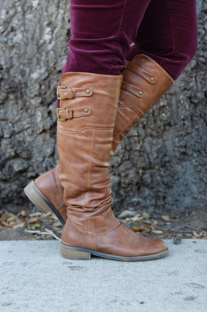 Fall Vibes - Knee High Cognac Boots, Burgandy Cords