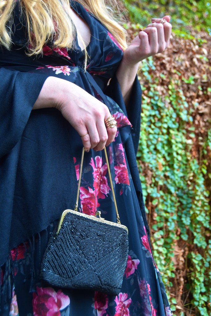 Floral Maxi Holiday Party Look - Beaded Bag Detail