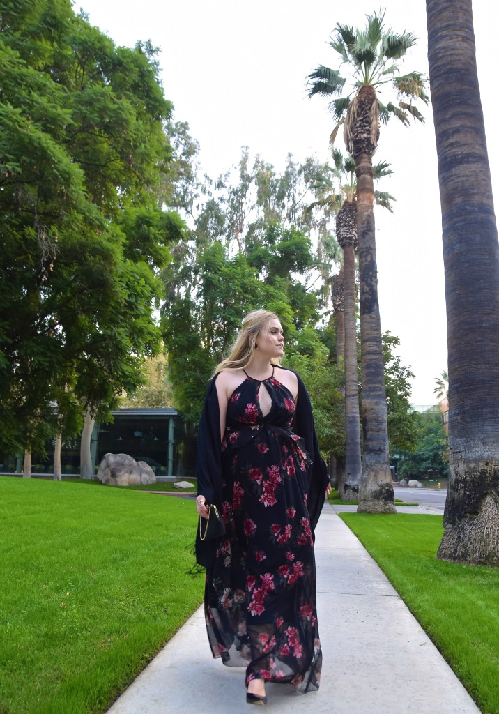 Floral Maxi Holiday Party Look - Rent the Runway Erin Fetherston Gown