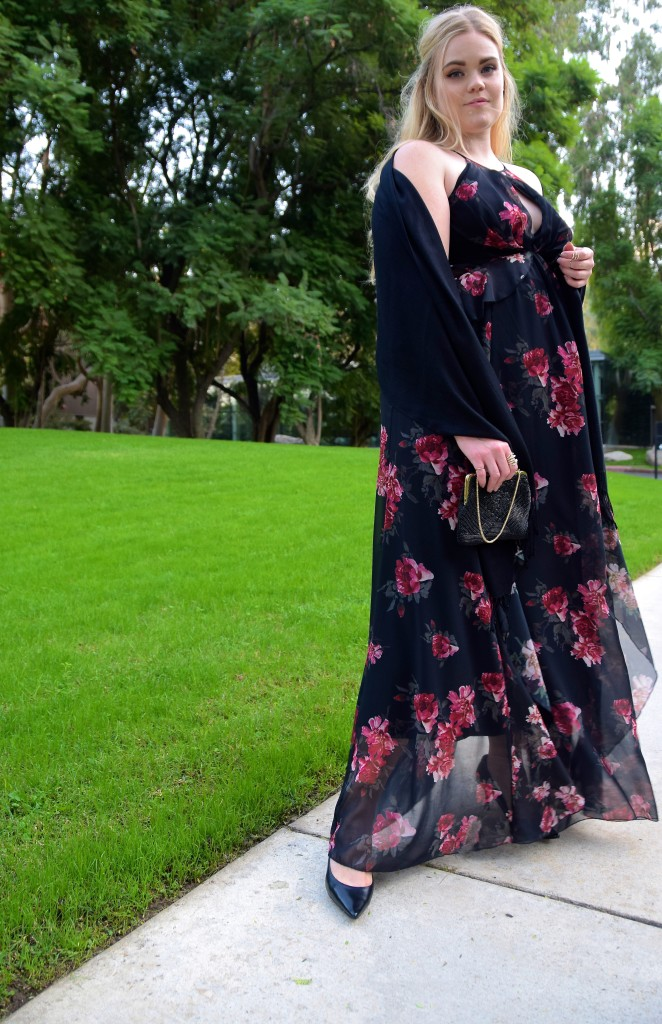Floral Maxi Holiday Party Look - Rent the Runway Gown