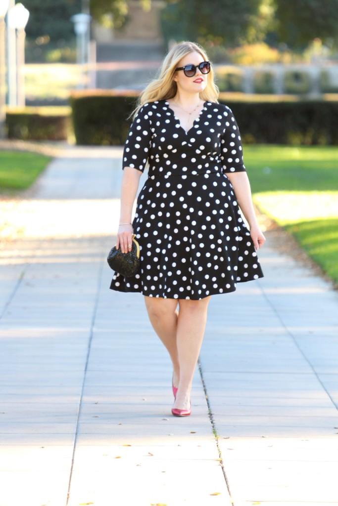 Happy New Year + Polka Dot NYE Look - Knee Length Vintage Inspired Dress