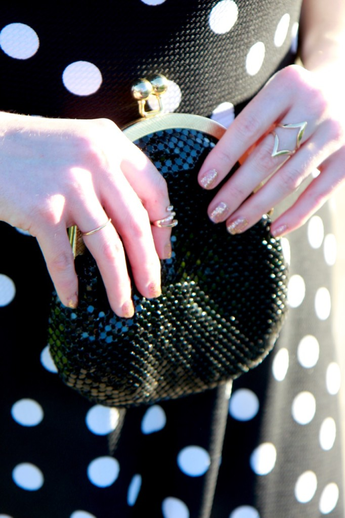 Happy New Year + Polka Dot NYE Look - Vintage Bag and Gold Jewelry
