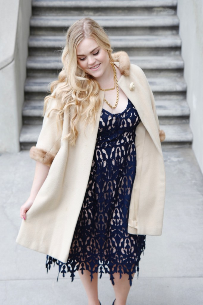Party Ready with Simply Be - Navy Lace Dress and Vintage Fur Coat