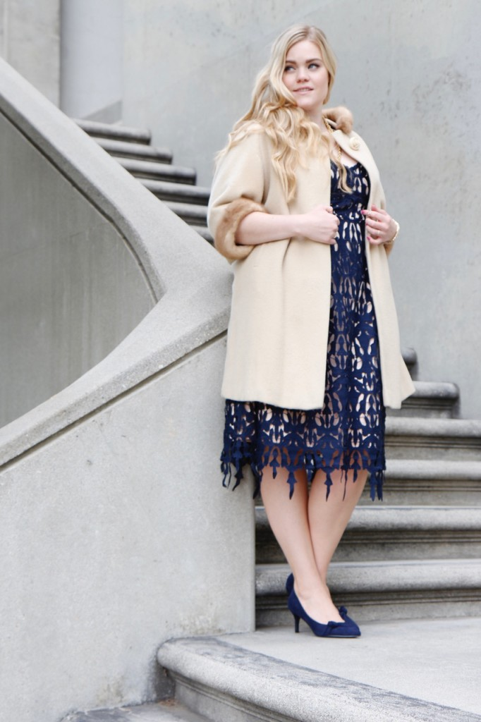 Party Ready with Simply Be - Navy Midi Dress and Fur Lined Coat