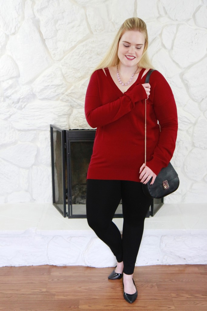 December Stitch Fix - Burgundy Sweater and Leggings