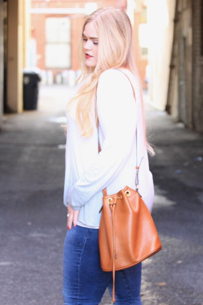 Ombre Blouse & Wedges - Bucket Bag