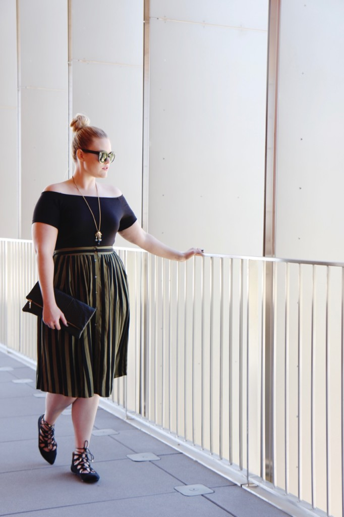 Off Shoulder and Striped Midi
