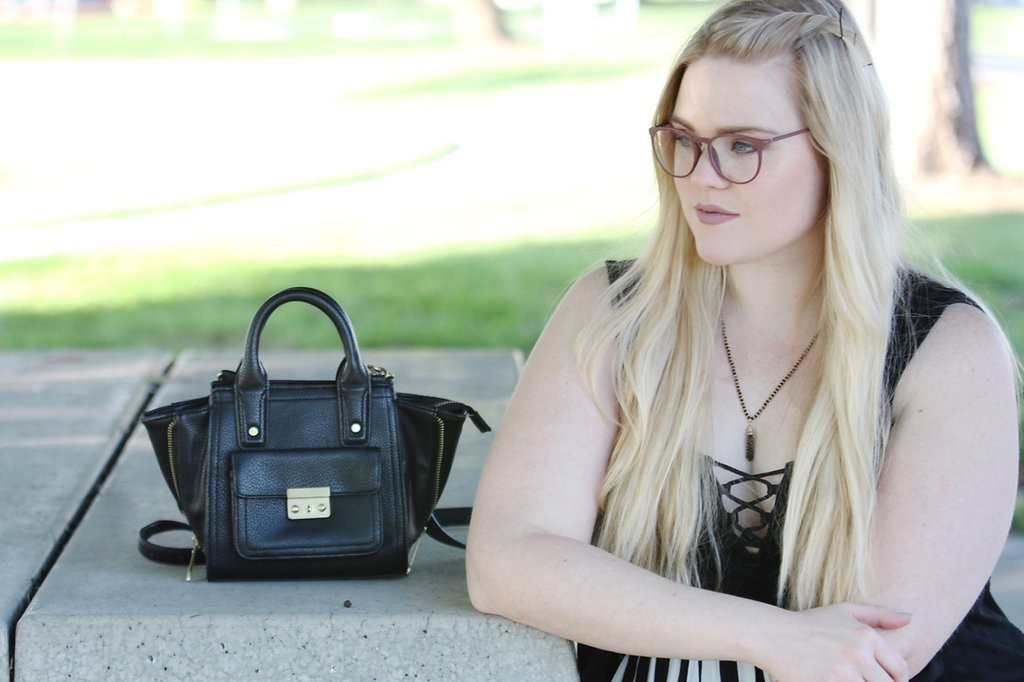 Girls Who Wear Glasses - Black Bag and Lace Up Bodysuit