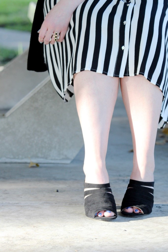 Girls Who Wear Glasses - Striped Midi Skirt and Strappy Sandals